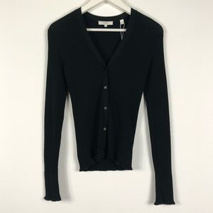 VINCE Black Ribbed V-Neck Cardigan Sweater Small
